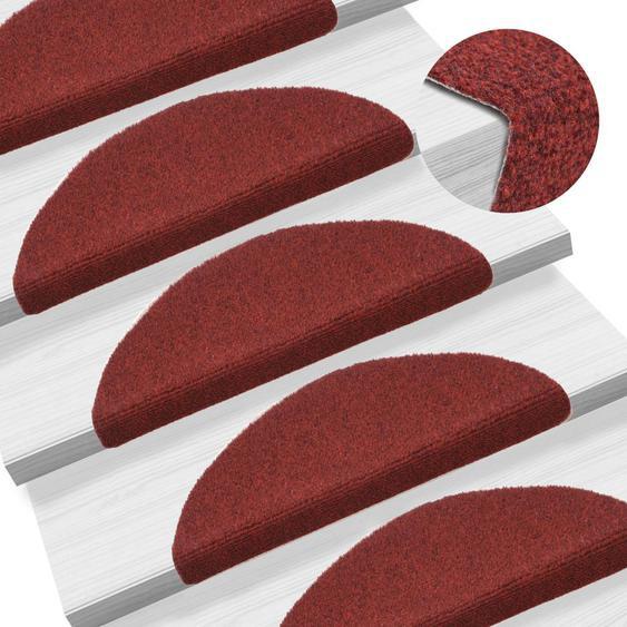 15-tlg Selbstklebende Treppenmatten Nadelvlies 54x16x4cm Rot
