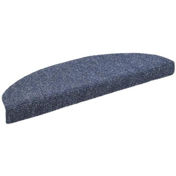 15-tlg Selbstklebende Treppenmatten Nadelvlies 65x21x4cm Blau
