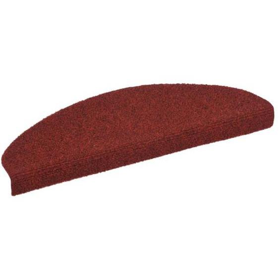 15-tlg Selbstklebende Treppenmatten Nadelvlies 65x21x4cm Rot
