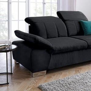 2,5-Sitzer, mit Rückenverstellung und Federkern, schwarz, mit Rückenverstellung, mit Armlehnenverstellung, 215cm, FSC®-zertifiziert, DOMO collection