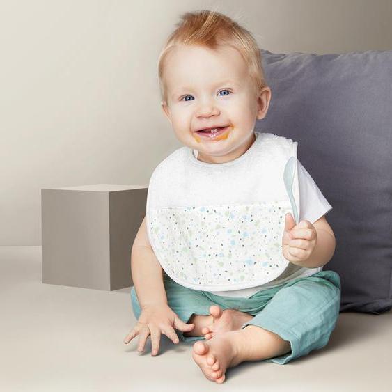 2 Baby-Lätzchen - weiß - 100% Baumwolle -