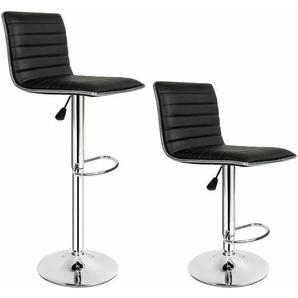 2 Barhocker Johannes aus Kunstleder - Barstühle, Tresenhocker, Barmöbel - schwarz