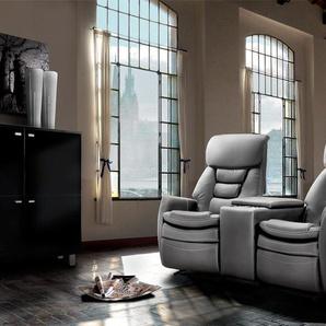 2-er Cinema Sessel mit grauem Kunstleder bezogen, Relaxfunktion  Aufbewahrungsfach u 2 Getränkehalter, Maße: B/H/T ca. 164/105/90 cm