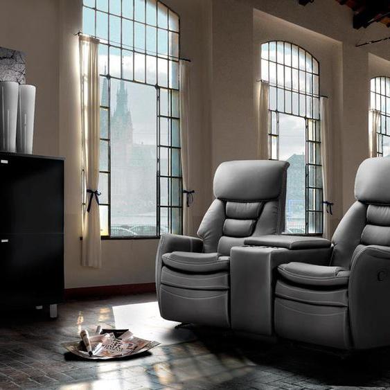 2-er Cinema Sessel mit schwarzem Kunstleder bezogen, Relaxfunktion  Aufbewahrungsfach u 2 Getränkehalter, Maße: B/H/T ca. 164/105/90 cm