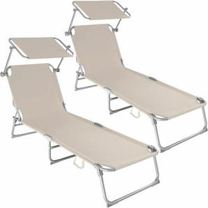 2 Gartenliegen 4-stufig - Sonnenliegen, Liegestühle, Relaxliegen - beige - TECTAKE