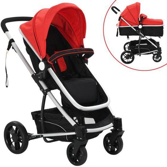 2-in-1 Buggy/Kinderwagen Aluminium Rot und Schwarz