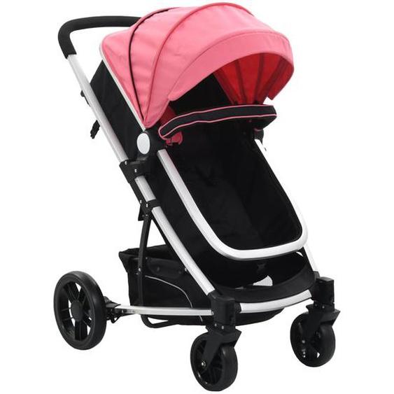 2-in-1 Buggy/Kinderwagen Rosa und Schwarz Aluminium