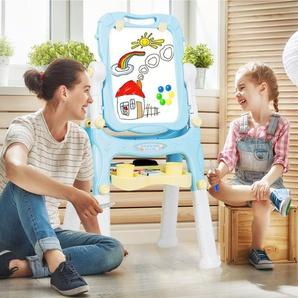 2 in 1 Kindertafel Staffelei doppelseitig Whiteboard & Kreidetafel Schreibtafel höhenverstellbar mit Malzubehör & Ablagefach magnetisch für Kinder blau