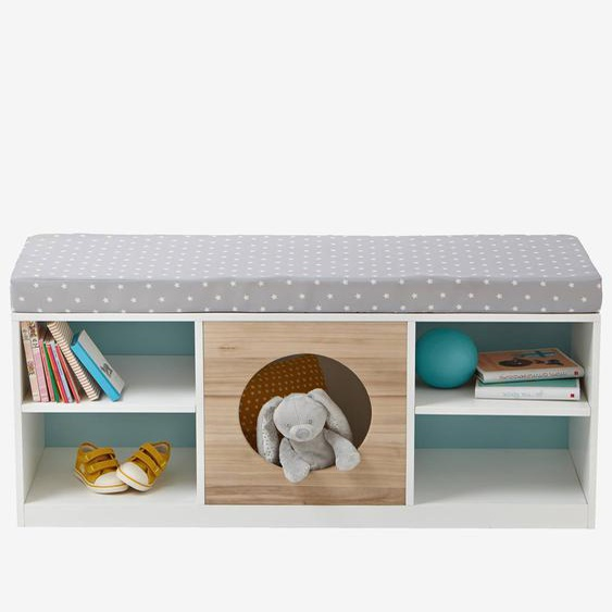 2-in-1-Sideboard für Kinder, Kinderbank weiß/natur