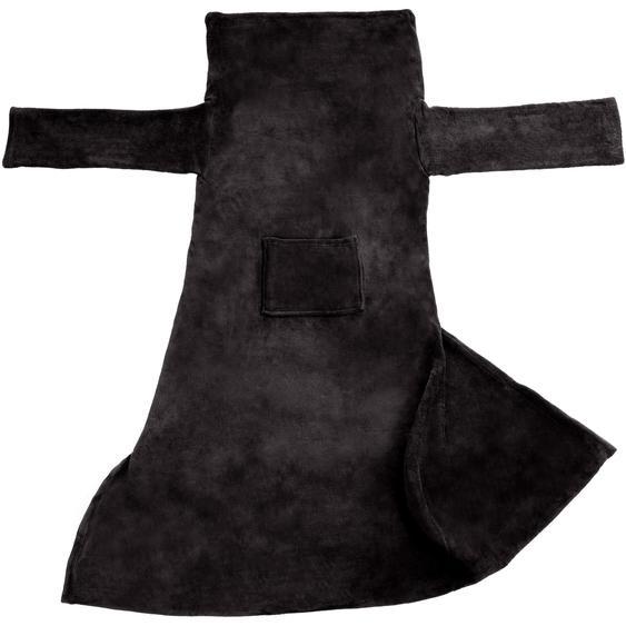 2 Kuscheldecken mit Ärmeln - schwarz, 180 x 150 cm