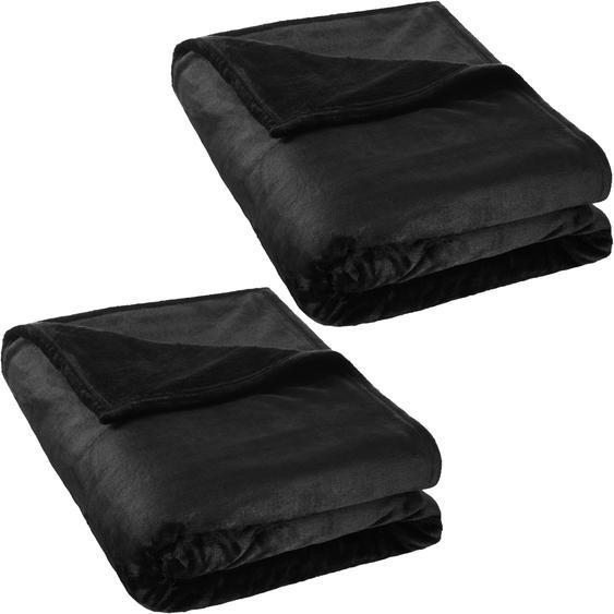 2 Kuscheldecken Polyester 220x240cm - schwarz