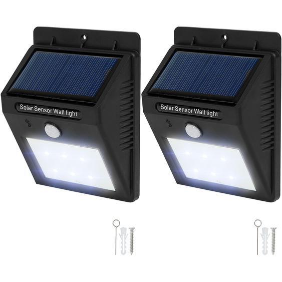 2 LED Solar Leuchten mit Bewegungsmelder - schwarz