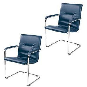 2 NOWY STYL Besucherstühle blau Kunstleder