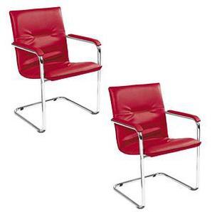 2 NOWY STYL Besucherstühle rot Kunstleder
