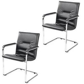 2 NOWY STYL Besucherstühle schwarz Kunstleder