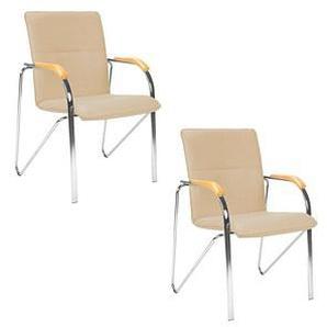 2 NOWY STYL Besucherstühle beige Kunstleder