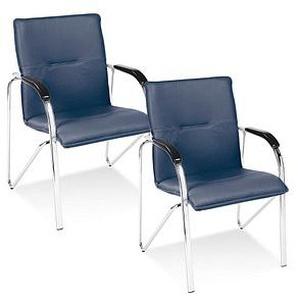 2 NOWY STYL Samba Besucherstühle blau Leder
