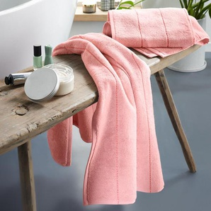 2 Premium-Handtücher - 2x roséfarben mit korallenfarbenen Streifen - Wolle -