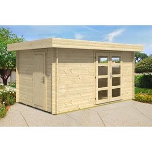 2-Raum Gartenhaus aus Holz Kampen , ohne Imprägnierung , Imprägnierung ab Werk:ohne Imprägnierung|Wandstärke:40 mm