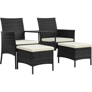 2-Sitzer-Gartensofa mit Tisch & Hocker Poly Rattan Schwarz - VIDAXL