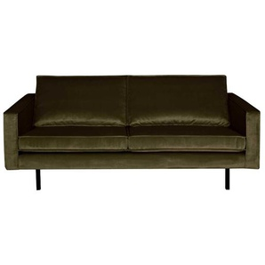 2 Sitzer Sofa in Dunkelgr�n Samt Retro Look