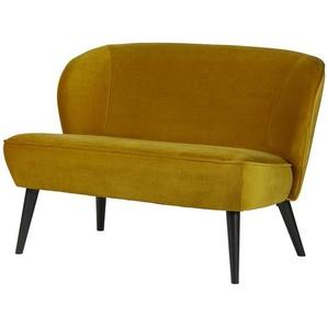 2 Sitzer Sofa in Gelb Samt Schwarz massiv