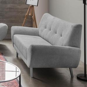 2-Sitzer-Sofa in Microfaser hellgrau, Knöpfe in rosa, mit einer Wellenunterfederung, Maße: B/H/T ca. 174/82/87 cm