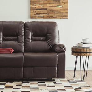 2-Sitzer Sofa Kunstleder braun verstellbar BERGEN