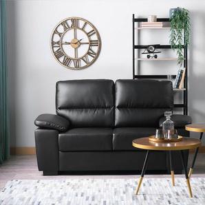 2-Sitzer Sofa Kunstleder schwarz VOGAR