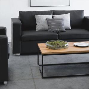 2-Sitzer Sofa Leder schwarz HELSINKI