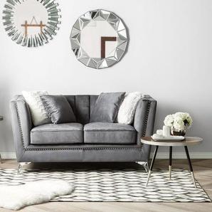 2-Sitzer Sofa Samtstoff grau GAULA