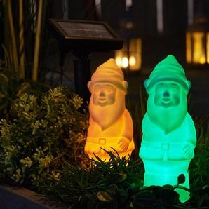2 Solar-Leuchtgartenzwerge - gelb -