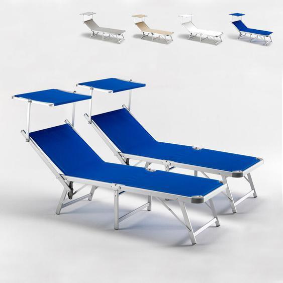 2 Sonnenliegen aus Aluminium Klappbar mit Sonnendach für Strand Meer Gabicce   Blau