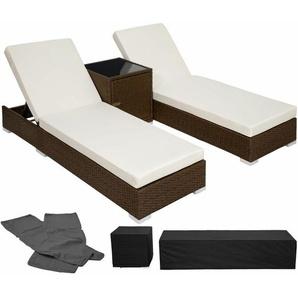 2 Sonnenliegen Rattan mit Aluminiumgestell und Tisch inkl. Schutzhülle - Gartenliege, Liegestuhl, Relaxliege - antikbraun - TECTAKE