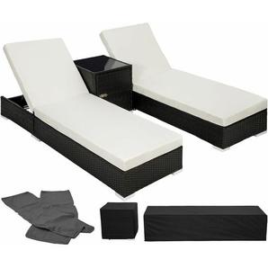 2 Sonnenliegen Rattan mit Aluminiumgestell und Tisch inkl. Schutzhülle - Gartenliege, Liegestuhl, Relaxliege - schwarz - TECTAKE