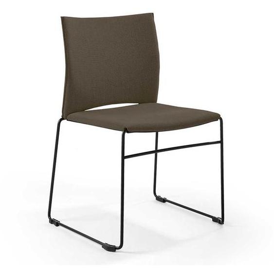 2 Stühle in Dunkel Grau Webstoff Schwarz Metall (2er Set)
