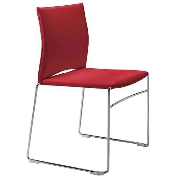 2 Stühle in Rot Leder Metallbügeln (2er Set)