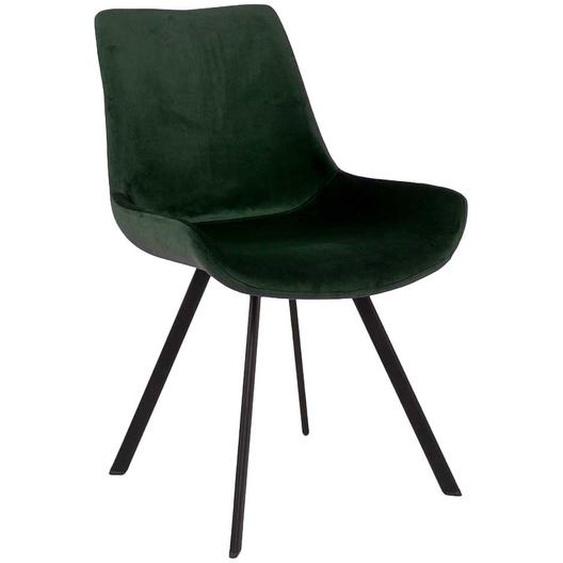 2 Stühle mit Samtbezug in Dunkelgrün Metallgestell (2er Set)