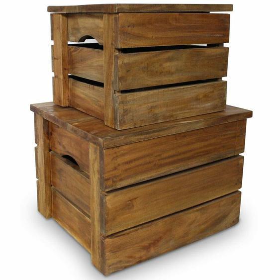 2-tlg. Boxen-Set aus Massivholz