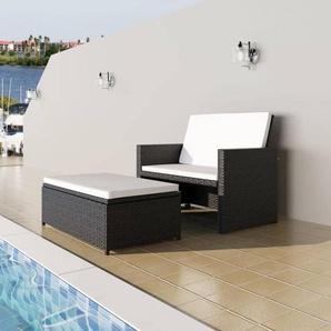 2-tlg. Garten-Lounge-Set mit Auflagen Poly Rattan Schwarz - VIDAXL