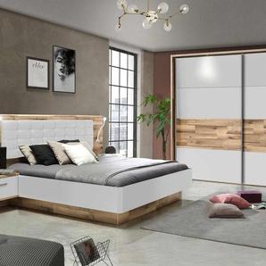2-tlg. Schlafzimmer mit Korpus in Stabeiche Nachbildung und Front in Weiß matt mit Absetzungen in Stabeiche Nachbildung, Liegefläche 180 x 200 cm