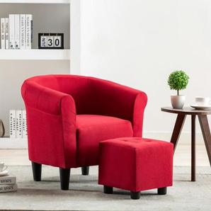 2-tlg. Sessel und Hocker Set Weinrot Stoff - VIDAXL