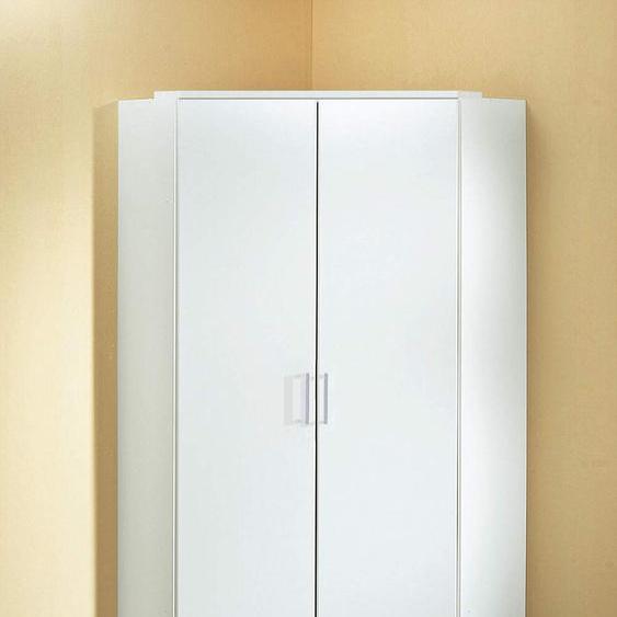 2-trg. Eckkleiderschrank in Alpinweiß mit 8 Einlegeböden und 2 Kleiderstangen, Aufstellmaß 120 x 120 cm, Maße: B/H/T ca. 95/198/95 cm