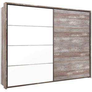 2-trg. Kleiderschrank in Driftwood-Dekor und Weiß, 2 Einlegeböden, 2 Kleiderstangen, Maße: B/H/T ca. 240/210/60 cm