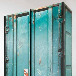 2-trg. Schwebetürenschrank im Container-Look in petrol, graphitfarbene Griffleisten, Maße: B/H/T ca. 150/216/68 cm