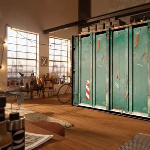 2-trg. Schwebetürenschrank im Container-Look in petrol, graphitfarbene Griffleisten, Maße: B/H/T ca. 250/216/68 cm