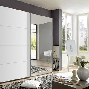 2-trg. Schwebetürenschrank in Alpinweiß mit 1 Tür verspiegelt, 2 Einlegeböden und 2 Kleiderstangen, Maße: B/H/T ca. 225/210/59 cm