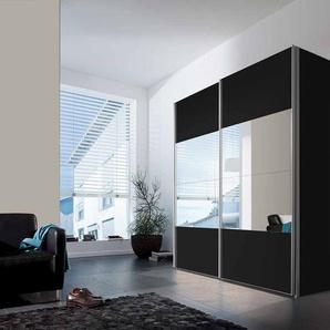 2-trg. Schwebetürenschrank in schwarz und Spiegelfront, 2 Kleiderstangen und 2 Einlegeböden, Maße: B/H/T ca. 200/216/68 cm