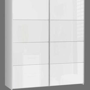 2-trg. Schwebetürenschrank in weiß mit Fronten in Hochglanz weiß, Maße: B/H/T ca. 170,3/209,7/61,2 cm