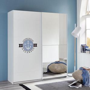 2-trg. Schwebetürenschrank in weiß mit maritimem Digitalprint, Spiegeltür, 2 Einlegeböden und 2 Kleiderstangen, Maße: B/H/T ca. 135/198/64 cm